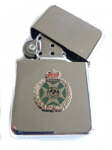 RGJ Royal Green Jackets Chrome Plated Windproof Petrol Lighter in Gift Box